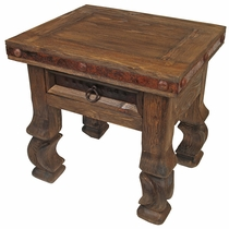 Old Wood Iron Banded Ox Yoke End Table - 1 Drawer