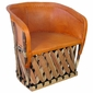 Oversized Pigskin Barrel Chair