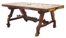 Ox Yoke Rustic Wood Dining Table