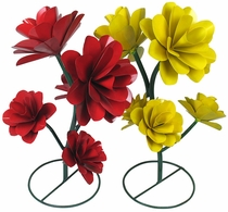 Painted Metal Garden Art Flowers with 5 Blooms