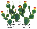 Painted Metal Prickly Pear Cactus Sculptures - Green