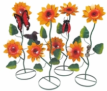 Painted Metal Sunflower Sculptures with Garden Critters