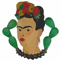 Painted Tin Frida Plaque Decoration