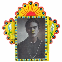 Painted Tin Micro Nicho with Frida Kahlo Print