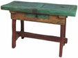 Painted Wood and Carved Turquoise Top Console Table