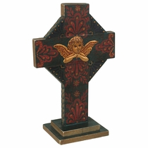Painted Wood Angel Cross with Base