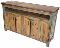 Painted Wood Entertainment Console with Thick Round Top Doors - Green