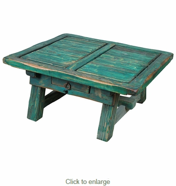 Painted Wood Ranch Coffee Table Green