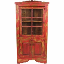 Painted Wood Red Corner Cabinet