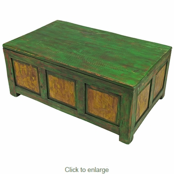 Painted Wood Trunk Coffee Table Distressed Green Yellow