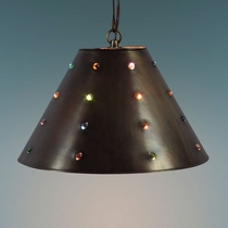 Plain Mexican Tin and Marble Pendant Light
