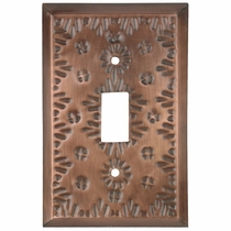 Punched Tin Single Switch Cover - Flower Design