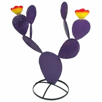 Purple Painted Metal Prickly Pear Cactus Sculptures
