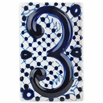 Set of 3 - Blue & White Talavera House Number Tiles - Embossed