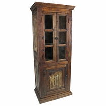 Reclaimed Rustic Wood Cabinet with Glass Doors - 5 Shelves