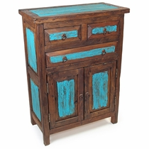 Reclaimed Wood Buffet Cabinet with Painted Turquoise Accents