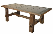 Reclaimed Wood Rustic Dining Table with Nailheads