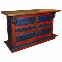 Red & Blue Painted Wood Rustic Bar