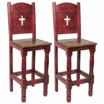 Red Mexican Painted Wood Bar Stool with Cross - Set of 2