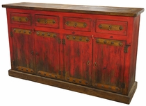 Red Painted Wood Buffet with Rustic Iron Accents