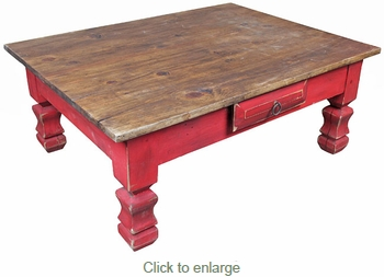 Red Painted Wood Coffee Table With Drawer