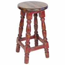 Red Painted Wood Mexican Turned Leg Bar Stool