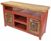 Red Rustic Painted Wood Entertainment Console