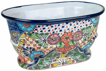 Ridged Oval Talavera Planter