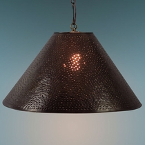 Round Aged Tin Punched Hanging Shade Light