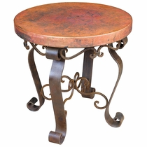 Round Copper & Iron End Table