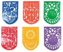 Round End Plastic Picado Banners - Set of 2