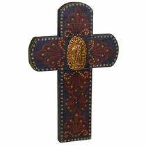 Rounded Painted Wood Cross