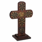 Rounded Painted Wood Cross with Base