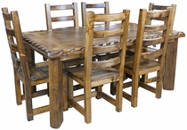 Rustic Alder Dining Set with Scalloped Top Edge - 7 Piece Set