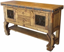 Rustic Console Hutch with Iron Accents