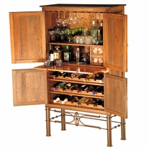 Rustic Copper Bar Cabinet with Iron Base