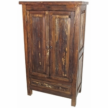 Rustic Distressed Wood Armoire - 2 Doors and 1 Drawer