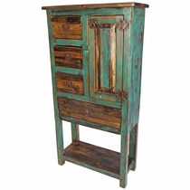 Rustic Green Patina Multi-Use Storage Hutch with Lower Shelf
