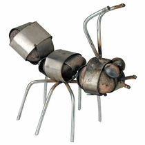 Rustic Iron and Stone Ant Sculpture