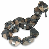 Rustic Iron and Stone Rattlesnake Sculpture