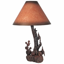 Rustic Ironwood Table Lamp with Hand Carved Quail and Cactus