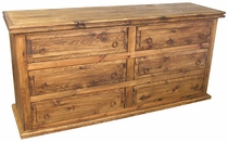 Rustic Long Pine Dresser - 6 Drawers