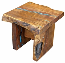 Rustic Mesquite Slab End Table with Turquoise Inlay