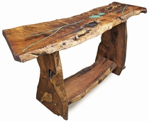 Rustic Mesquite Slab Sofa Table with Turquoise Inlay