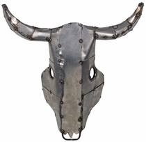 Rustic Metal Buffalo Skull Wall Art Sculpture