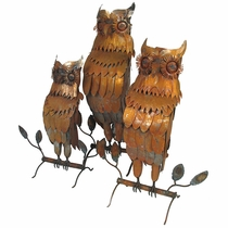 Rustic Metal Owls Yard Art Sculptures - Set of 3