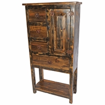 Rustic Multi-Use Hutch - Dark Patina and Natural Wood with Lower Shelf