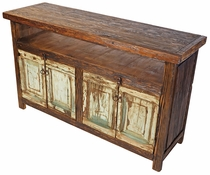 Rustic Natural Wood Buffet or Entertainment Center with 4 Old Paint Doors