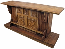 Rustic Old Wood Carved Panel Bar with Three Stools