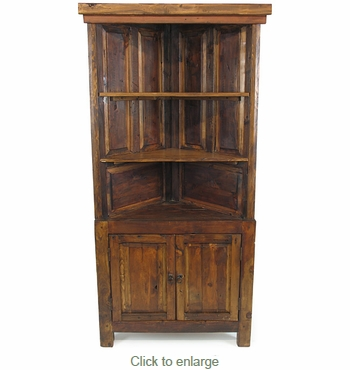 Rustic Old Wood Corner Cabinet and Shelf